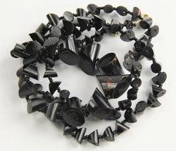 """32"""" ESTATE VINTAGE Jewelry CHUNKY NATURAL BLACK CORAL GRADUATED NECKLACE - $135.00"""