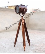 Antique Copper Wood Tripod Searchlight Modern E 27 Floor Lamp Office Dec... - $57.08