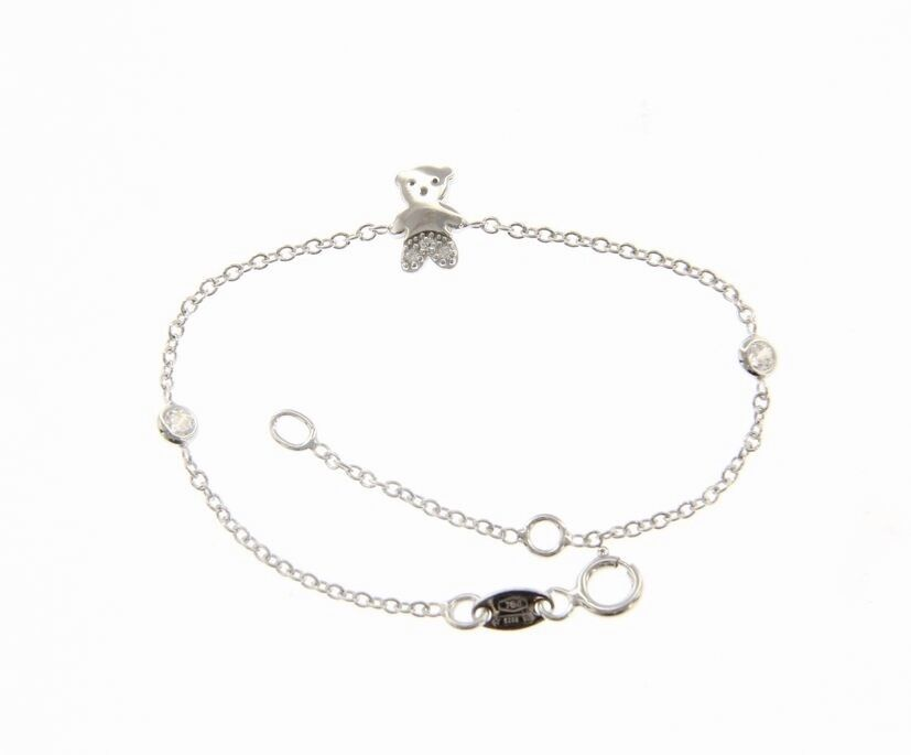 18K WHITE GOLD BRACELET FOR KIDS WITH BEAR AND CUBIC ZIRCONIA  MADE IN ITALY