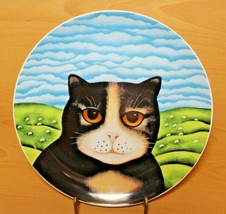"Dept 56 Priscilla Black Yellow Cat Blue Sky Plate Martin Leman 9 1/4"" VGUC - $21.99"