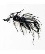 Shima Black Hair Piece Accent with Crystals Comb Wedding Bridal Feather ... - $41.96