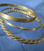 Eclectic Trio Golden Bangles, Set of 3 Bracelets, Unique Styles    No.6 - $16.71