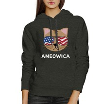 Ameowica Unisex Dark Gray Cute Cat Hoodie For Independence Day - $25.99+