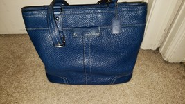 FLAWLESS CERTIFIED COACH SHOULDER BAG PURSE BLUE LEATHER - $95.00