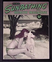 "Bettie Page 8.5""X11"" 2-SIDED PIN-UP Sunbathing & Topless Carnival Magazine Photo - $8.79"