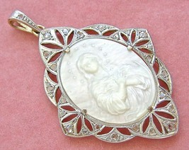 ART DECO .35 DIAMOND VIRGIN MARY IMMACULATE CONCEPTION MOTHER PEARL PEND... - $1,583.01
