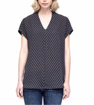 NWT! Pleione Ladies' Short Sleeve Blouse Top - Black Comma Print - Size XL - $21.33