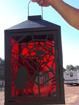 "Very Large 22"" tall Halloween Lantern  Orange/Black with spider design - $15.00"