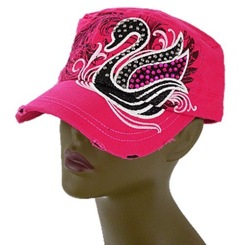 Pretty! Distressed Embroidered Studded & Rhinestone Swan Hat Cap (Fuchsia Pink)