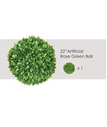 Ecoopts 22 Inch Artificial Topiary Ball Lifelike Plants Rose Leaf Boxwoo... - $94.01
