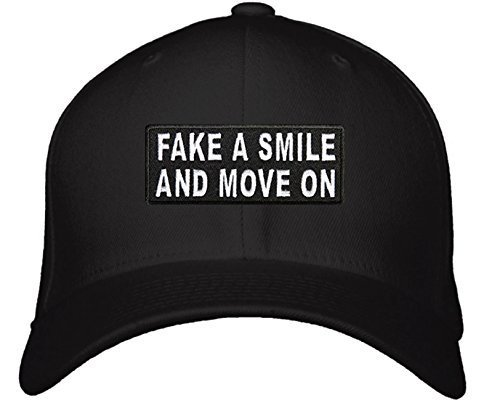 Fake A Smile And Move On Hat - Adjustable Men's Black/White - Funny Cap