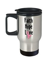 Breast Cancer Awareness 14 oz. Stainless Steel Travel Mug Faith Hope Love Pink R - $19.99