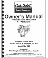 "Cub Cadet 40"" Snow Thrower Attachment Operators Manual Model No. 190-303... - $10.88"