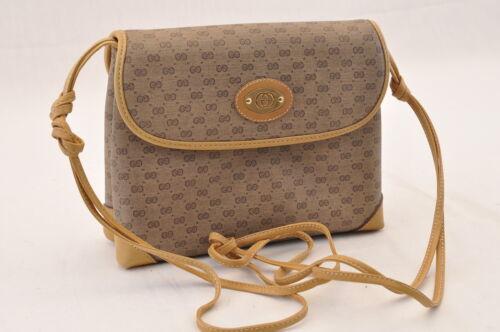 GUCCI GG Canvas Shoulder Bag Brown PVC Leather Auth sa1823 **Powder