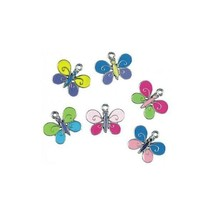 EPOXY ENAMELED BUTTERFLY FINE PEWTER CHARM PENDANT - 20mm  x 16mm x 1.5mm