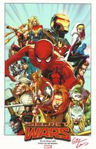 Greg Land Signed Marvel Comics Art Print ~ Secret Wars Spiderman Hulk Av... - $39.59