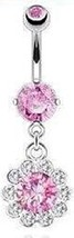 Belly Button ring Surgical Steel Round CZ Flower Paved Gem Petals Navel 14g - $2.49