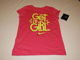 Nike active cotton t shirt youth Get It girls 6 362522 A72 DK Hyper Pink NWT^^ - $12.40