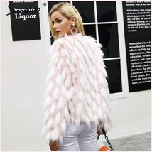 Fluffy Pink White Tufted Long Haired Faux Fur Short Coat Jacket Hidden Fasteners