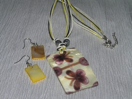 Estate Demi Brown Cream & Yellow Mother of Pearl Rectangle Butterfly Pri... - $10.39
