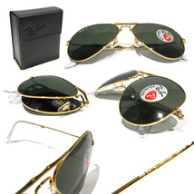 New Ray Ban Folding Aviator RB3479 001/58 Gold w/Green Polarized 55mm - $313.04