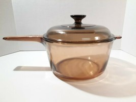 Visions  Corning Ware Pyrex Amber Glass 2.5L Sauce Pan Pot with Lid  - $34.99