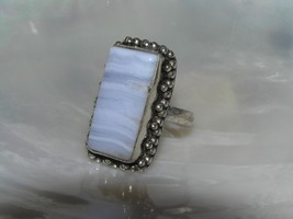 Estate Long Light Blue Lacey Agate Rectangle in Unmarked Silver Bead Fra... - $24.20