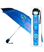 KOKESHI DOLL UMBRELLA Blue Folding w Hard Case Geisha Girl Japanese Lady... - $12.95