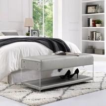 Winona Silver PU Leather Ottoman Bench with Bottom Shelf Acrlic Leg - $688.37