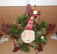"Christmas Hanging Wall Decor Bottle Cap Santa On Star Wood Wreath 16"" US... - $12.49"