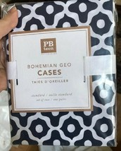 Pottery Barn Teen Set 2 Bohemian Geo Standard Pillowcase Navy Blue Pair - $32.50