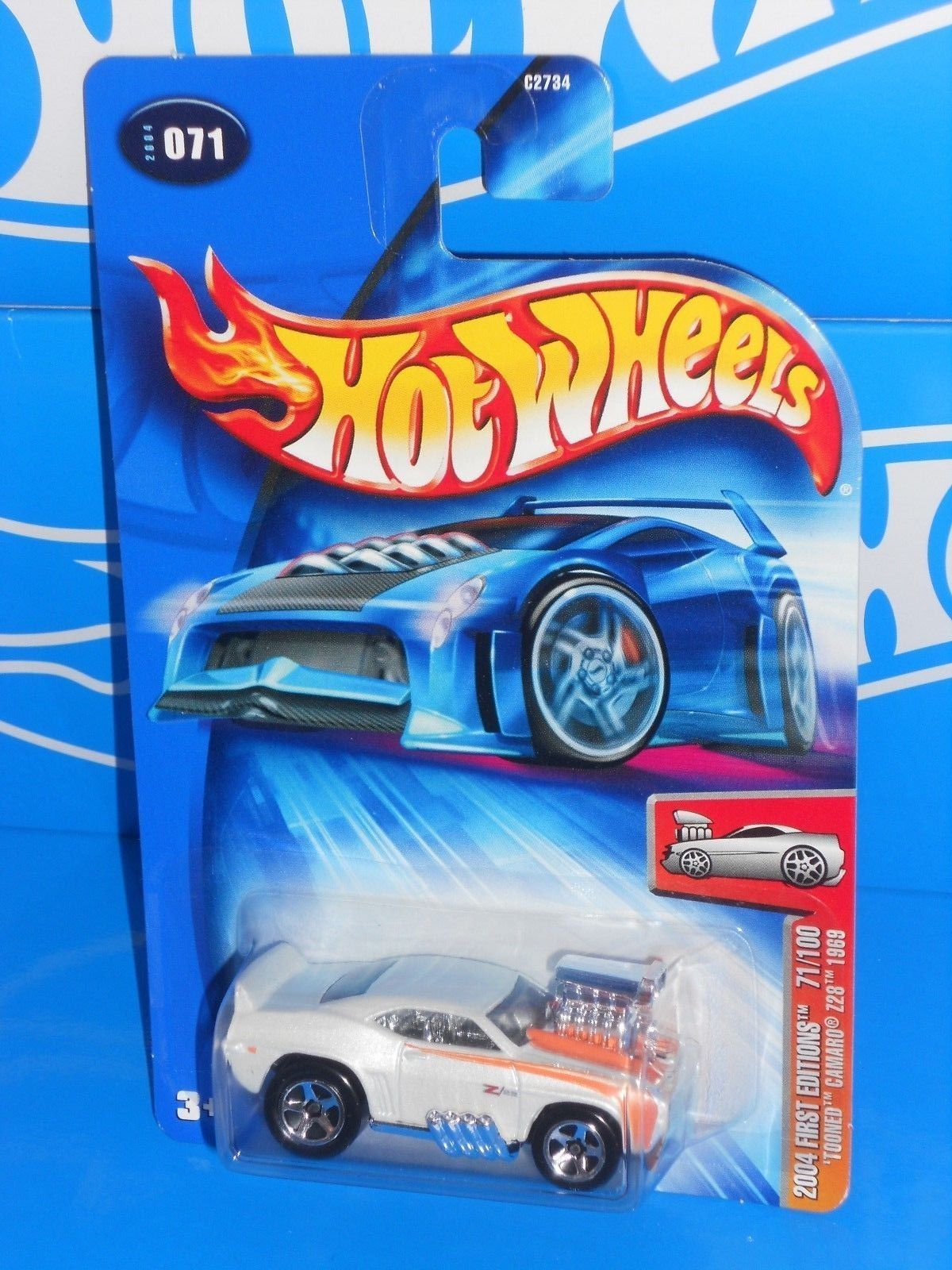 Hot Wheels 2004 First Editions #71 'Tooned Camaro Z28 1969 Kmart White w/ 5SPs