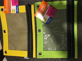 Brand New Ring Pencil Pouch with Mesh Window set of 2 with tag YELLOW / ... - $15.04