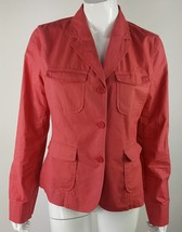 Talbots Womens Sz 8 Coral Pink Button Up Collared Long Sleeve Career Blouse EUC - $6.79