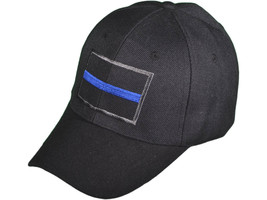 Law Enforcement Police  Blue Line Flag Black Adjustable Cap Hat - $10.40