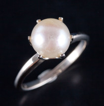 Vintage 1960's 14k White Gold Round Cultured Pearl Solitaire Ring 3.6g S... - $470.00