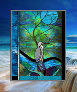 Blue Heron with Moonlit Tree Leaded Stained Glass Window - $487.00