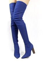 Cape Robin Connie-10 Pointy Toe Thigh High Over the Knee Chunky Heel Boots - £14.98 GBP