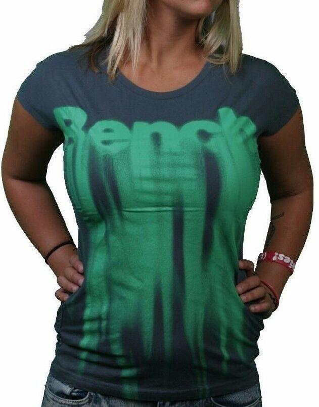 Bench UK Morph T-Shirt Gris Foncé Vert Melting Logo Noir Graphique Manche Courte