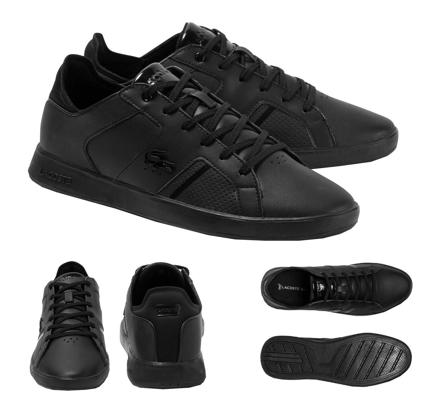 Lacoste Men's Casual Novas 120 3 SMA Athletic Shoes Leather Black Sneaker