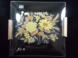 Viking Glass Yellow Floral Wood Handled Square Serving Tray, Yellow Rose... - $42.00