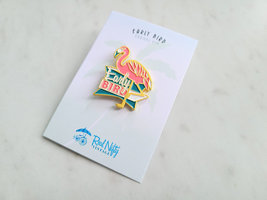 Early Bird Pink Flamingo Enamel Pin, Butterfly Clasp Back image 3