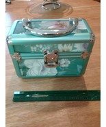 green and silver latched floral jewelry or cosmetic box - $5.93