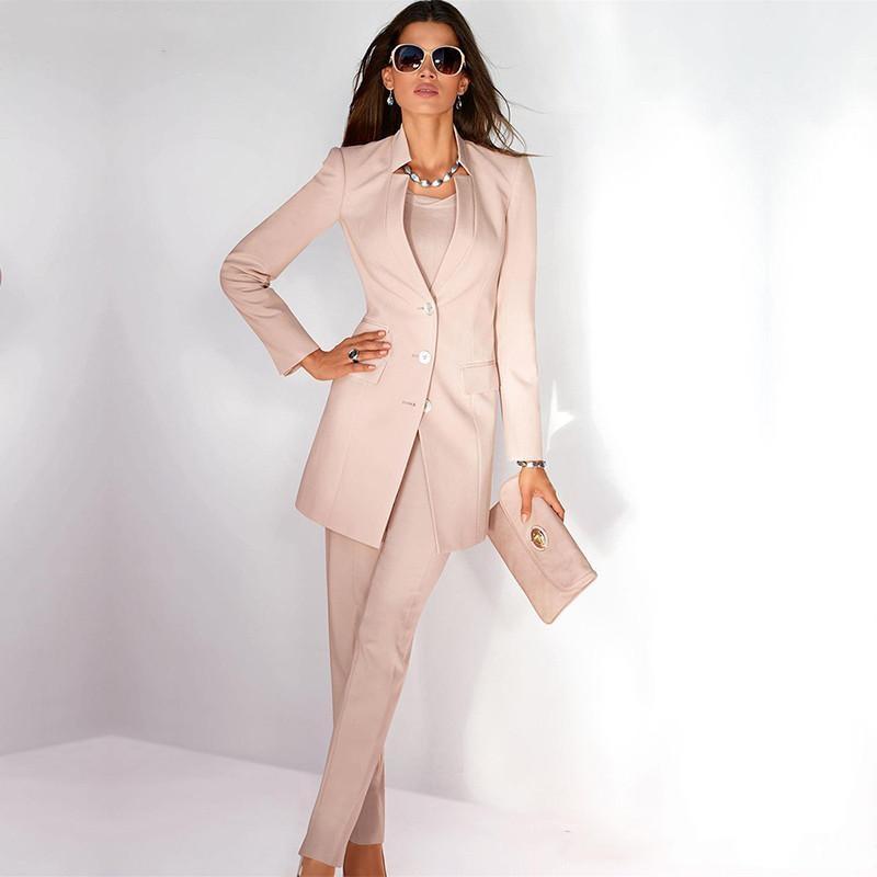 pants women s business suit light pink long sleeves female office uniform ladies formal trouser