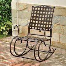 Patio Wrought Iron Metal Rocking Chair Antique High Back Deep Scrolled Brown - $216.59