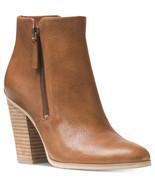 Michael Kors MK DENVER Dark Caramel Leather Bootie Ankle Short Boots Sho... - £95.80 GBP