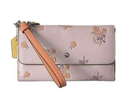 NWT COACH Color Block Floral Flower Triple Wristlet Wallet Clutch Pink F... - $87.11