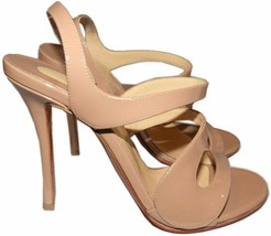 $895 Christian Louboutin Vavazou Slingback Sandals Shoes Nude Beige Pump... - $499.99