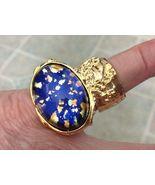 Arty Style Ring Opal Blue Vintage Glass SZ 4.5 Knuckle Art Statement Gol... - $23.99