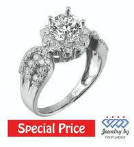 Solid 14K White Gold 1.01CT Real Natural Diamond Unique Engagement Ring ... - $1,257.66